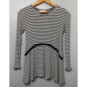 ALTAR'D STATE Ribbed Black and White Striped Top
